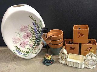 6  Terra Cotta Flower Pots  large Decorative Vase