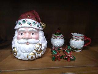 Santa Cookie Jar  Christmas Cream   Sugar