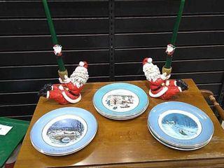 8  Christmas Collector s Plates   Santa Candles