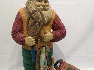 Santa Gone Fishing 21  Tall Figurine