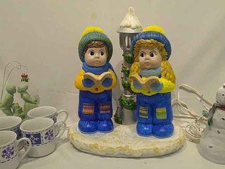 light up Carolers  Snowman  4 Mugs
