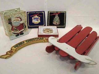 3  White House Christmas Ornaments  Wood Sled