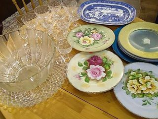 Glassware  12 Champagne Glasses   Bowl  Chargers