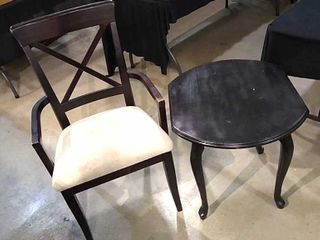 Upholstered Wood Arm Chair   Black End Table