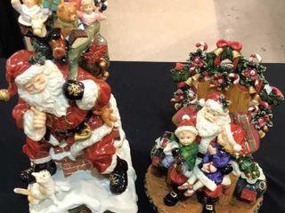 2 Santa Figurines