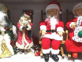 4  Santa Figures  Singing Mr   Mrs Santa