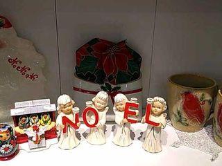 Noel Angel Candle Holders  leaded Glass Nativity
