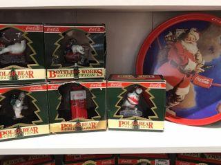 Coca Cola Polar Bear Collection Ornaments   Tray