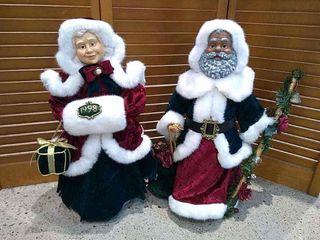 Mr   Mrs Santa Claus Decorative Figures  21 H