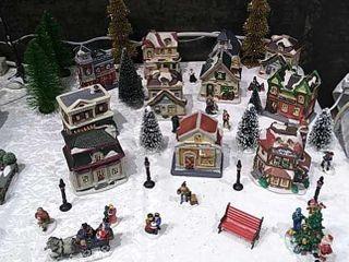 Miniature Village Ceramic Set  11 Houses