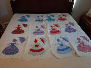 12 lady with Umbrella Fabric   Quilt Blocks