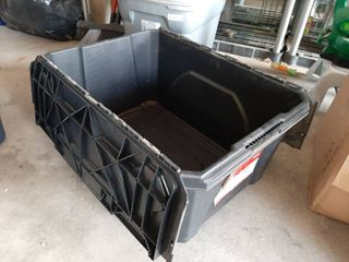 Husky 18 Gal  Flip Top Storage Bin  Black