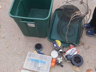 Tub with Fishing Equipment