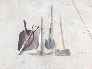 Shovel and 3 Pieces with Broken Handles