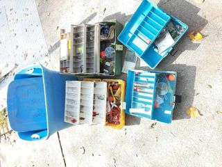 Tub with Assorted Tackle Boxes