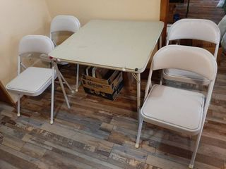 Card Table with 4 Chairs   Not a Matched Set  Colors are Slightly Different