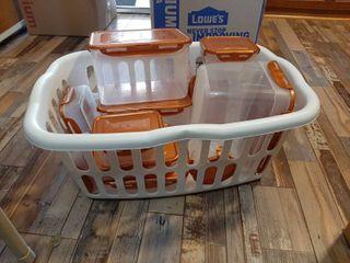 laundry Basket with Plastic Storage