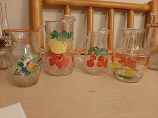 Glassware with Painted Flowers