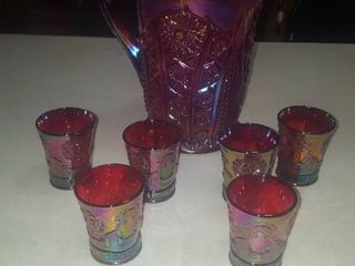 Carnival glass beverage set