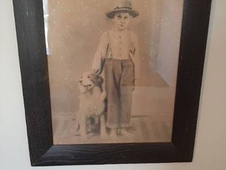 Framed Picture   Boy and Dog