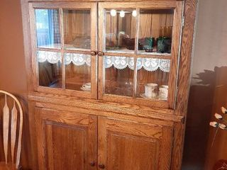 lighted Oak China Hutch   Contents Not Included