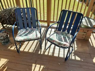 2 Blue Metal Patio Chairs