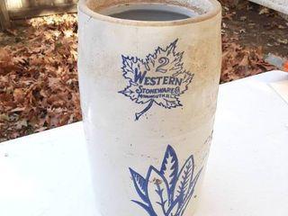 2 Gal Western Stoneware Crock Churn   No lid
