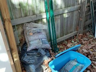 Pea Gravel  Rubber Mulch and 3 Stakes