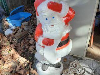 Plastic Santa   Some Damge Taped Up