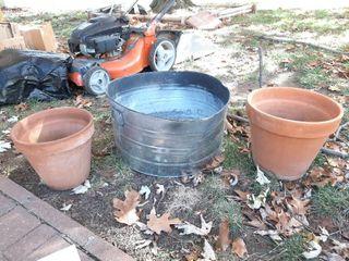 Galvanized Washtub  Bent  and 2 Terra Cotta Planters