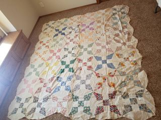 Quilt Topper 94 in  x 80 in  and Quilt Pieces