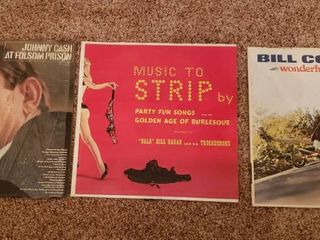 Vintage Vinyl Records   Johnny Cash  Music to Strip By and Bill Cosby