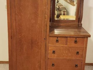 Antique Wardrobe W Drawers and Mirror  no keys   casters in drawer interior shelf in wardrobe need some attention   44 x 20 x 66 in  tall   IN BASEMENT  BRING HElP TO MOVE OUT
