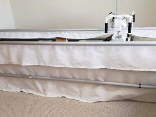 Husqvarna Viking Mega Quilter Machine on Grace Company Adjustable  5 ft   or 10 ft  Metal Quilting Frame w Gracie laser   Quilter s Cruise Control   Accessories and Tools included   WORKS WEll   123 X 38 X 48 IN  TAll