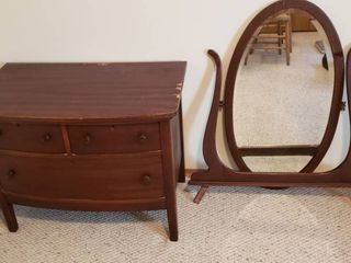 Antique 3 Drawer Chest w Yoke Beveled Mirror Attachment  will need put together    Chest  36 x 21 x 28 in  tall   Yoke   Mirror  35 x 42 5 in  tall
