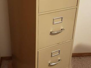 Tan Metal 4 Drawer File Cabinet w Hanging Files included   15 x 25 x 52 in  tall   IN BASEMENT
