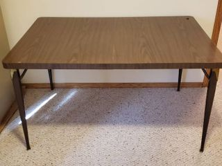 Formica Top Table w Attached leaf   53 x 36 x 29 in  tall   one leg need repaired   see pix   in Basement