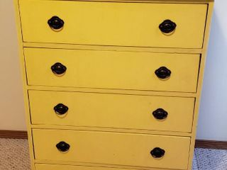 Yellow 5 Drawer Chest   31 x 16 x 43 in  tall   water damage to back board   See Pix