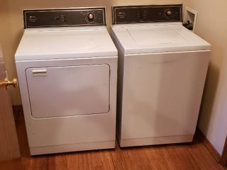 MAYTAG Washer and Electric Dryer Set   Washer  Model A7300  25 5 x 27 x 44 in  tall    Dryer  Model lDE7600AC  28 5 x 27 x 44 in  tall  Works   Main level   Bring Help to Move Out