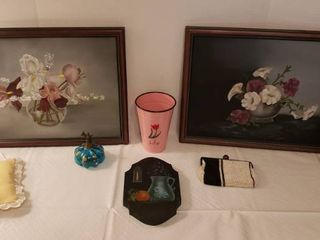 Floral Paintings  17 5 x 14 in    and Decor  Beaded purse  Candle  Perfume Bottle and others