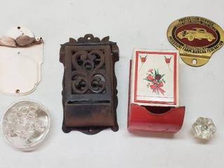 Vintage Match Holders  Broom Mop Holders  Flower Frig  Thermometer  Glass Knob and Car Insurance Placard