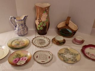 Ceramic and Porcelain Dishes   couple hand painted plates   some may have a chips