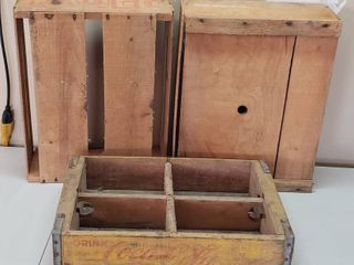 Vintage Coca Cola Wood Case and 2 Fruit Wood Crates