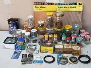 Sand paper  Jars Packages of Nails  Wire and Screws