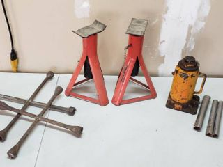 Pair of Jack Stands  Bottle Jack and 2 Four Way lug Wrenches