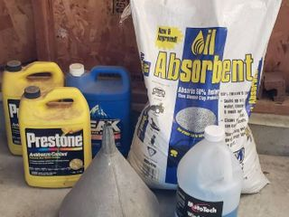 Oil Absorbent  3 Gal  Jugs Antifreeze  2 Full  Windshield Cleaner and Galvanized Funnel