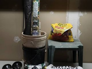 Weed Block  2 rolls  2 Buckets  Plastic Table  Potting Mix  Cotton Burrs  2 Solar lights and Ice Melt
