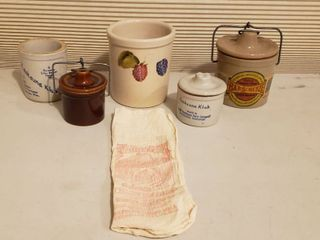 Small Crock items and Cotton Sack