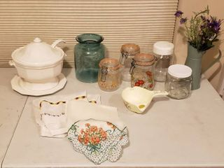 Canisters  Aprons  Gravy Separator and White Pfaltzgraff Soup Tureen