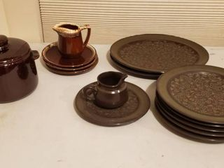 West Bend Bean Pot  Drip Glaze Creamer   3 Saucers  and Franciscan Dishes  2 Platters  5 Dinner Plates  1 Saucer and Creamer